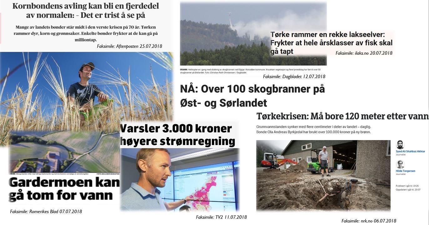 Faksimile fra ulike aviser om konsekvenser av tørken 2018